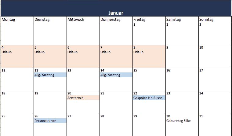 Kalender 2016 in Excel erstellen (mit kostenloser Vorlage)