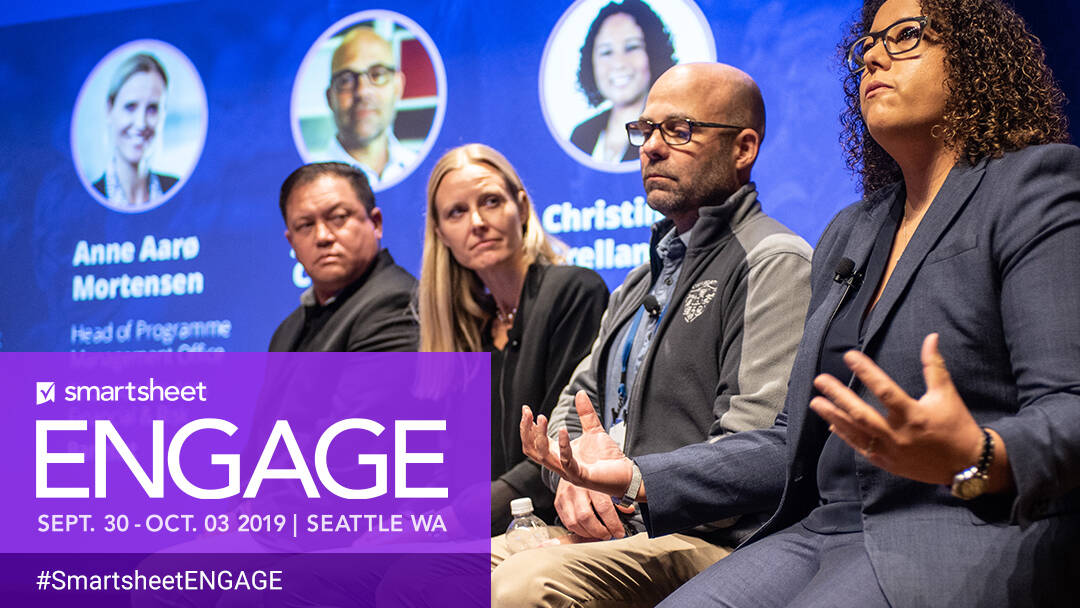 Four Smartsheet customers present during a panel at ENGAGE'19