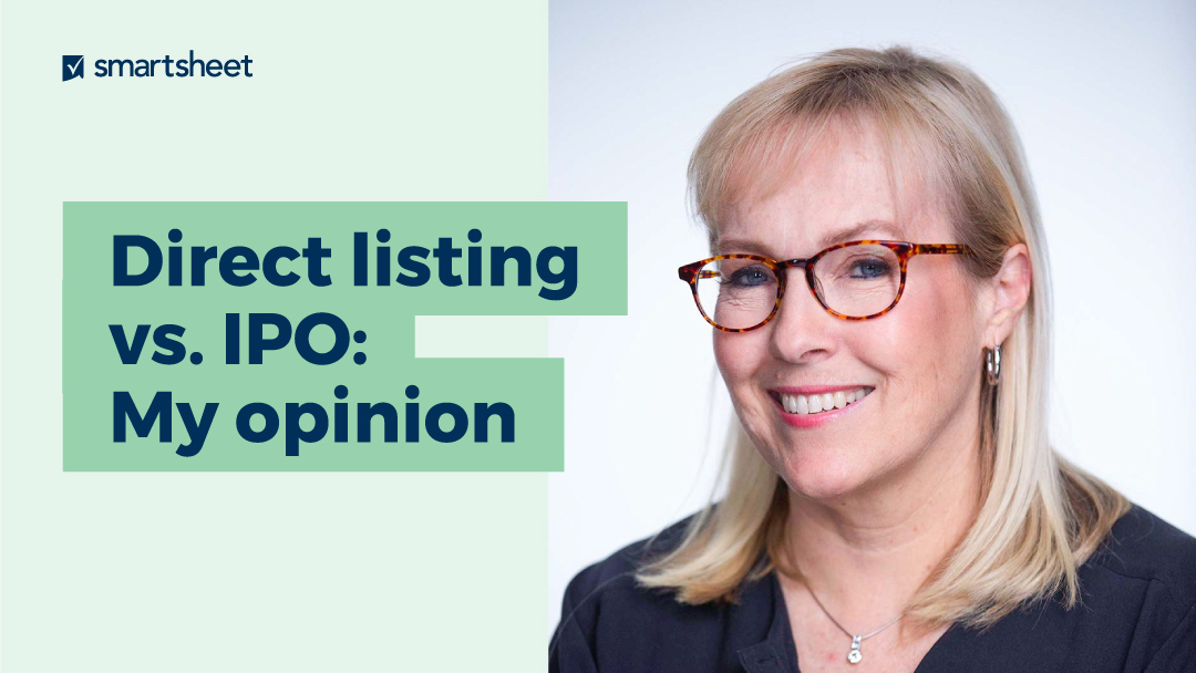 Photo of CFO Jennifer Ceran with the caption Direct listings vs IPOs: My opinion