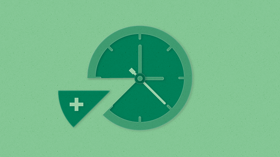 A green clock face appears with a slice cut out like pie and the slice contains a medical cross