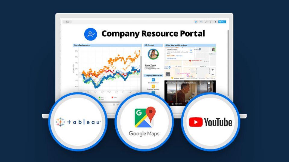 company resource portal with the web content widget in Smartsheet